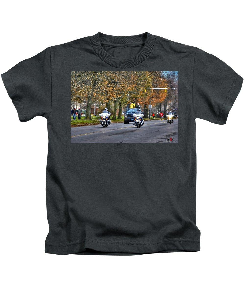 Michael Frank Jr Kids T-Shirt featuring the photograph 001 Turkey Trot 2014 by Michael Frank Jr