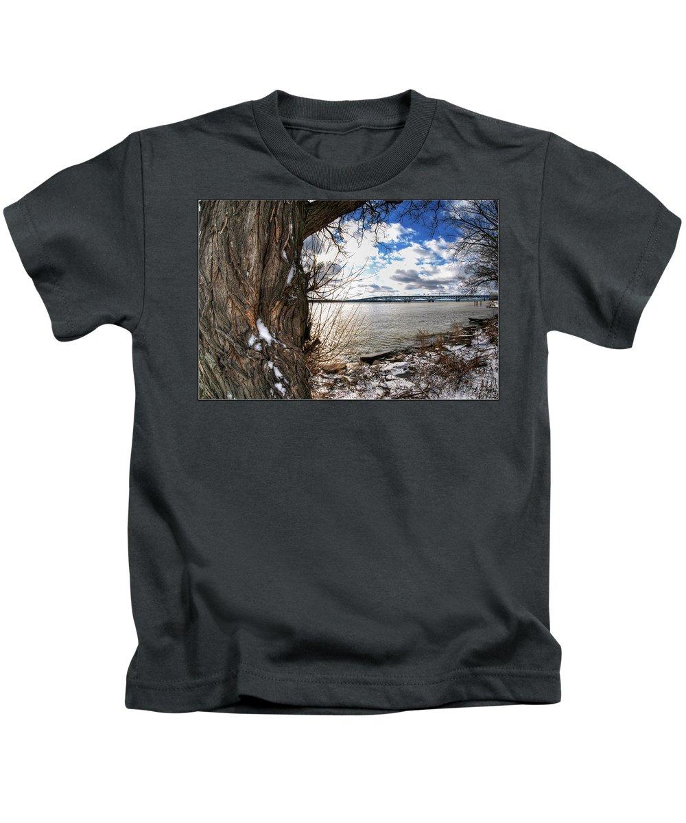 Kids T-Shirt featuring the photograph 0011 Grand Island Bridge Series by Michael Frank Jr