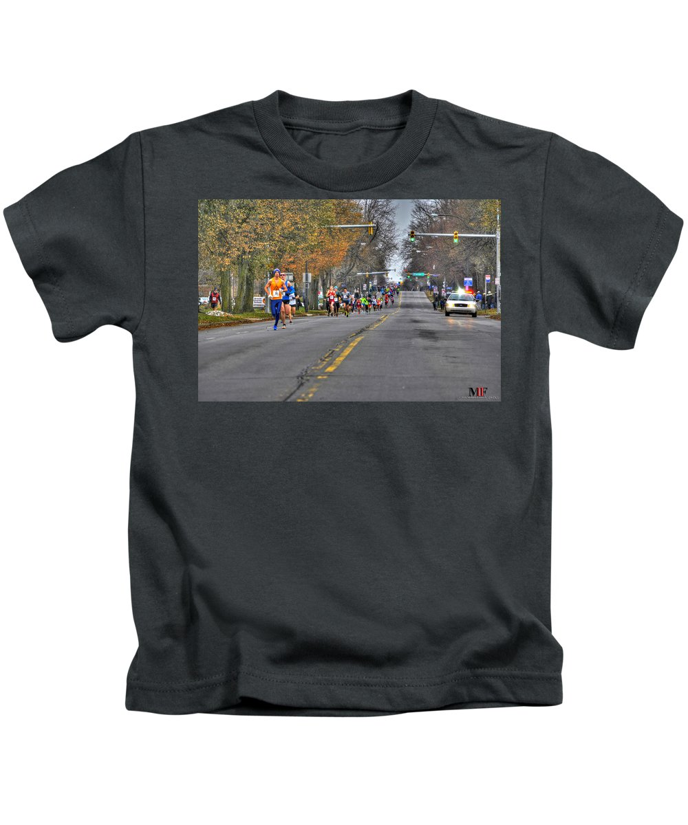 Michael Frank Jr Kids T-Shirt featuring the photograph 002 Turkey Trot 2014 by Michael Frank Jr