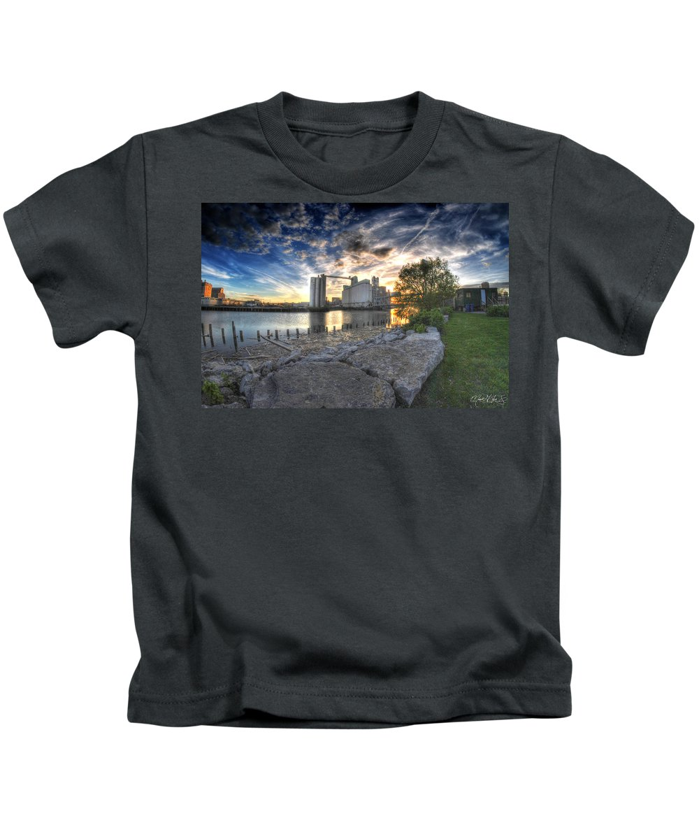 General Mills Kids T-Shirt featuring the photograph 003 General Mills At Sunset by Michael Frank Jr