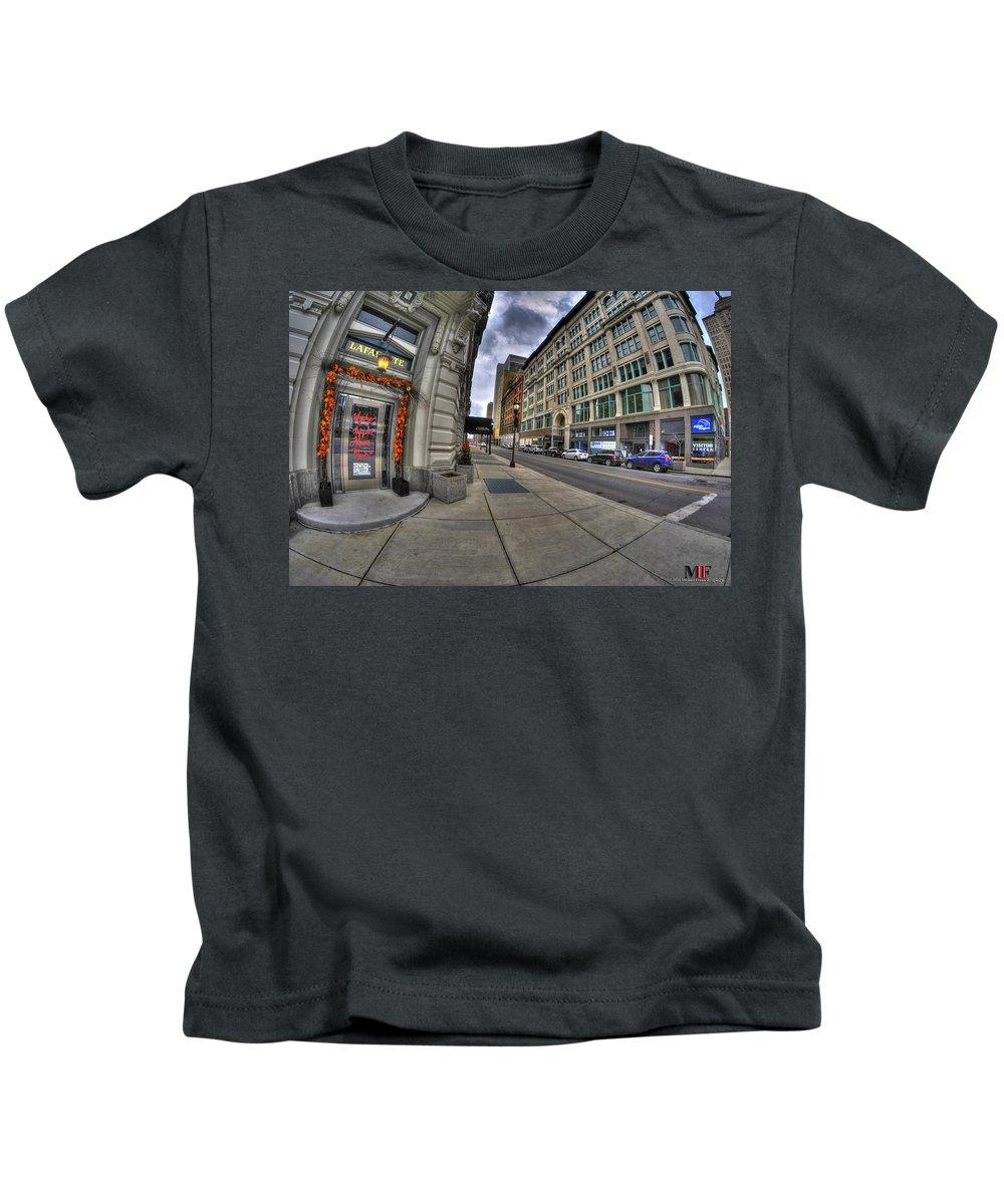 Michael Frank Jr Kids T-Shirt featuring the photograph 0033 Hotel Lafayette by Michael Frank Jr