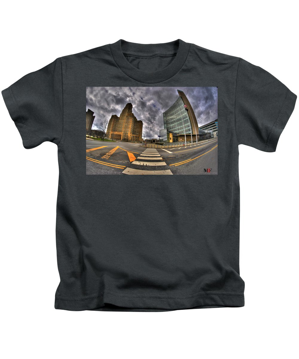 Michael Frank Jr Kids T-Shirt featuring the photograph 007 City Hall And The Court House by Michael Frank Jr