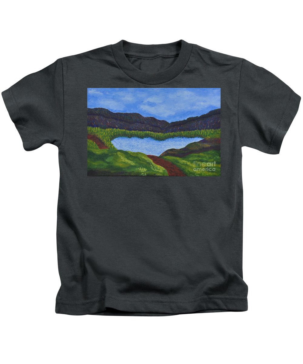 Landscape Kids T-Shirt featuring the painting 007 Landscape by Chowdary V Arikatla