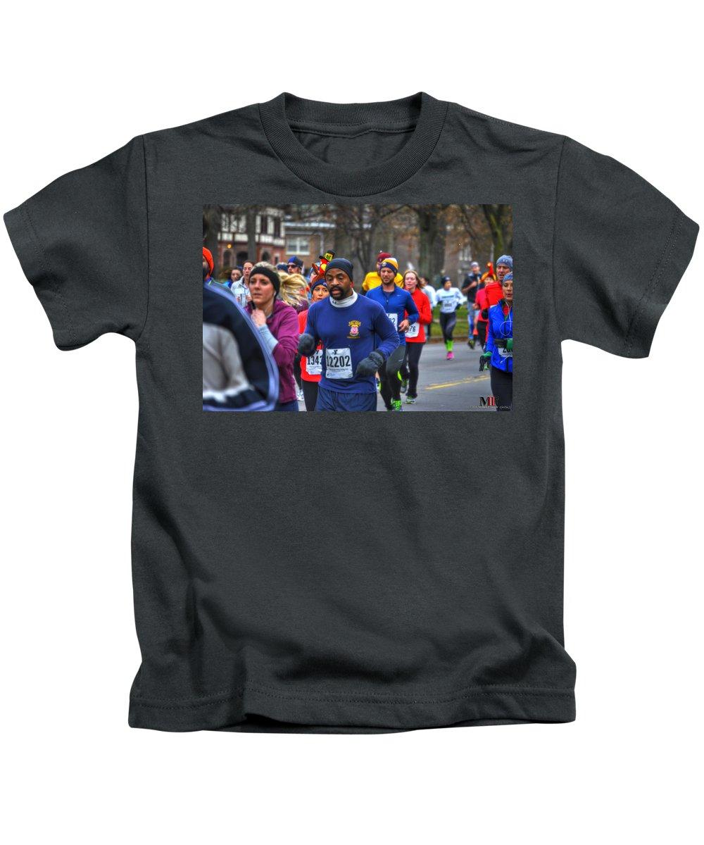 Michael Frank Jr Kids T-Shirt featuring the photograph 008 Turkey Trot by Michael Frank Jr