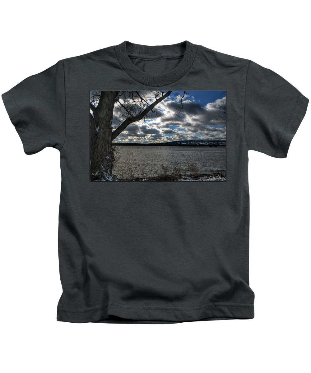 Kids T-Shirt featuring the photograph 004 Grand Island Bridge Series by Michael Frank Jr