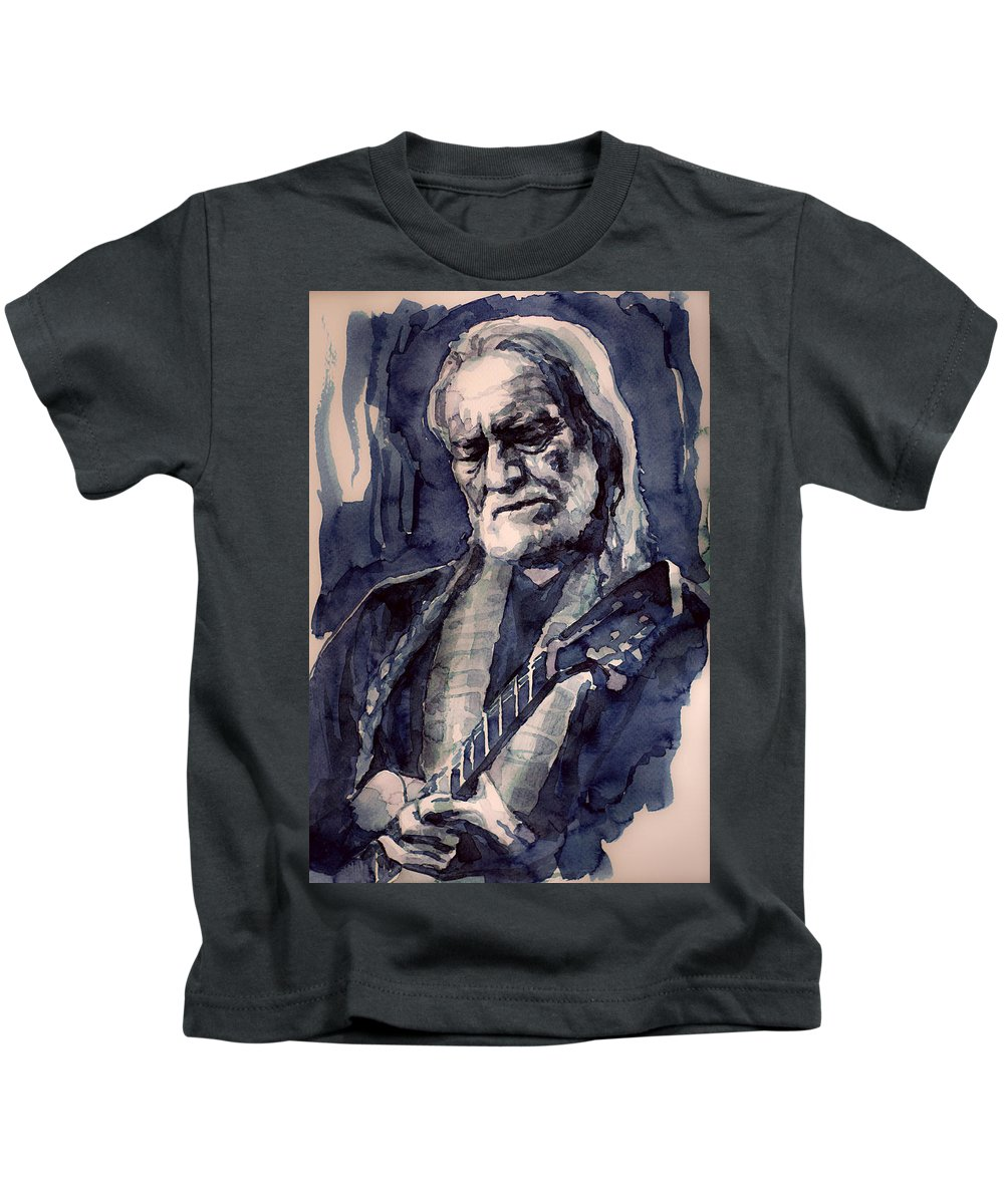 Willie Nelson Kids T-Shirt featuring the painting Always On My Mind by Laur Iduc