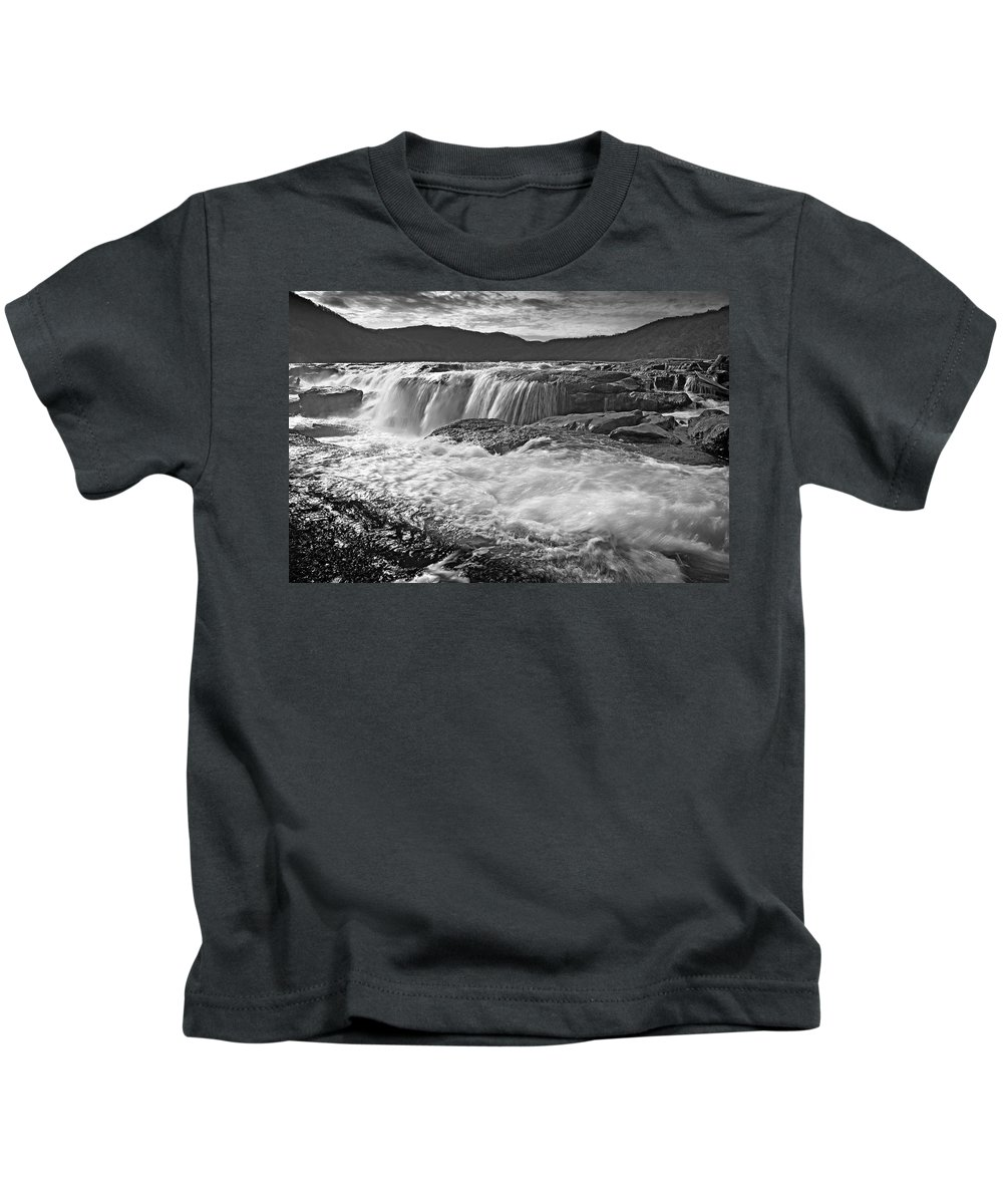 Kids T-Shirt featuring the photograph Black And White Waterfall by Lj Lambert