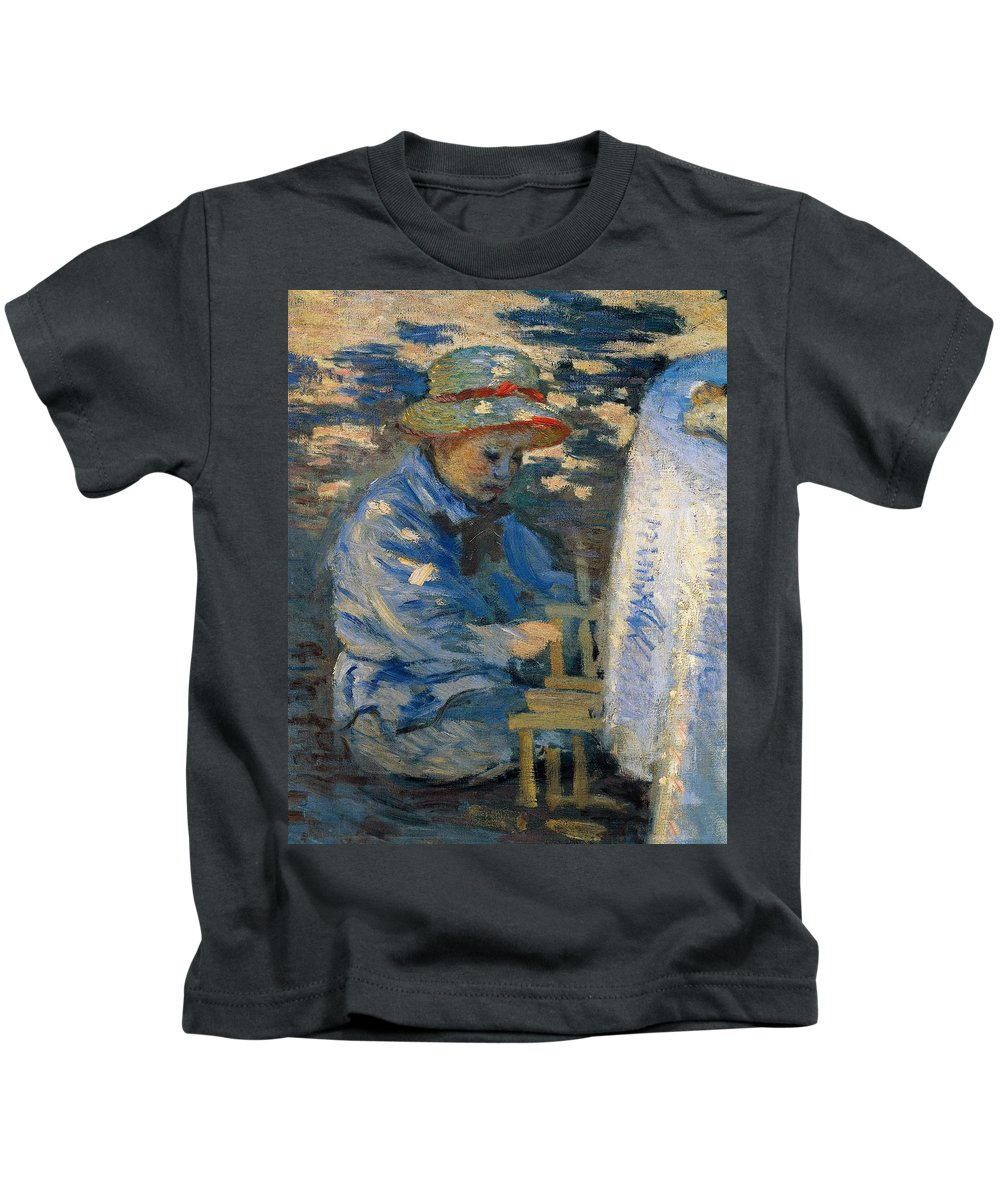 Art Kids T-Shirt featuring the painting Breakfast In The Garden by Claude Monet