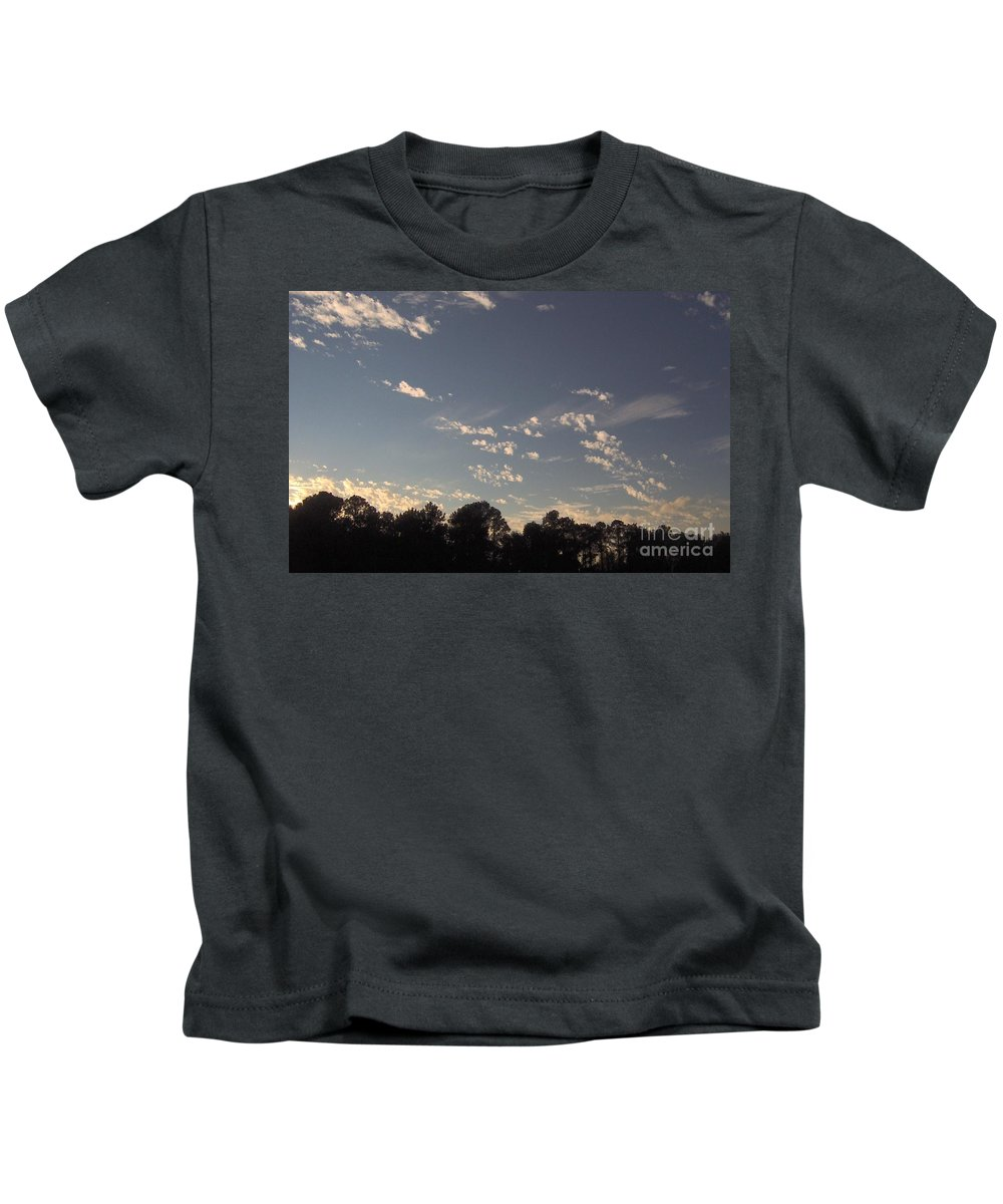 Sunset Kids T-Shirt featuring the photograph Clouds At Sunset by D Hackett