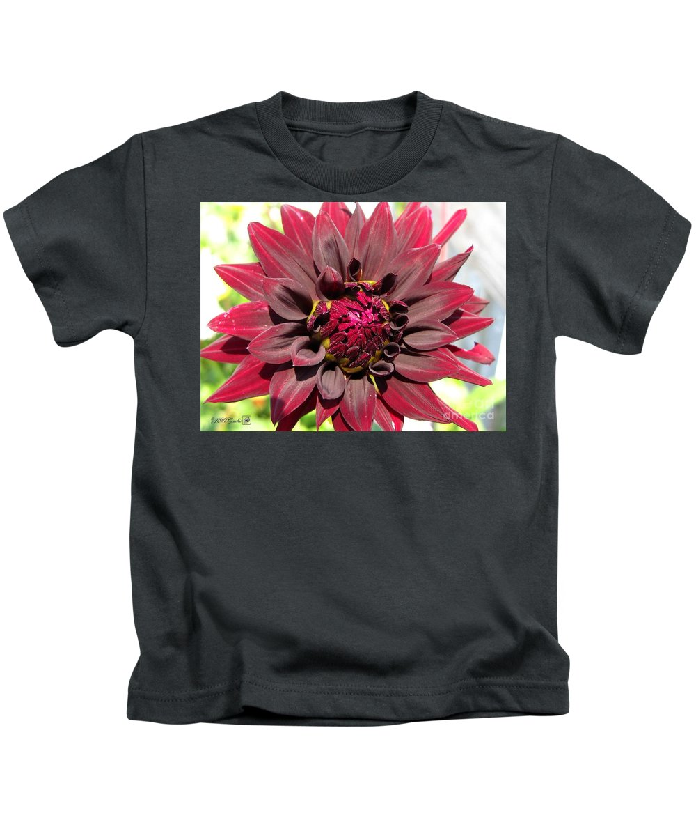 Dahlia Kids T-Shirt featuring the photograph Dahlia Named Black Wizard by J McCombie
