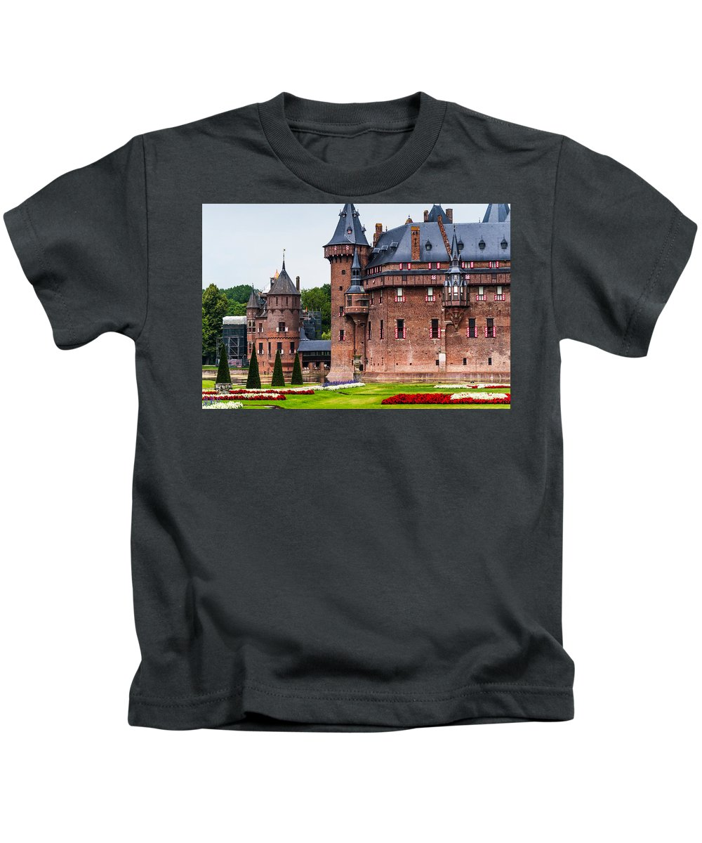Utrecht Kids T-Shirt featuring the photograph De Haar Castle. Utrecht. Netherlands by Jenny Rainbow