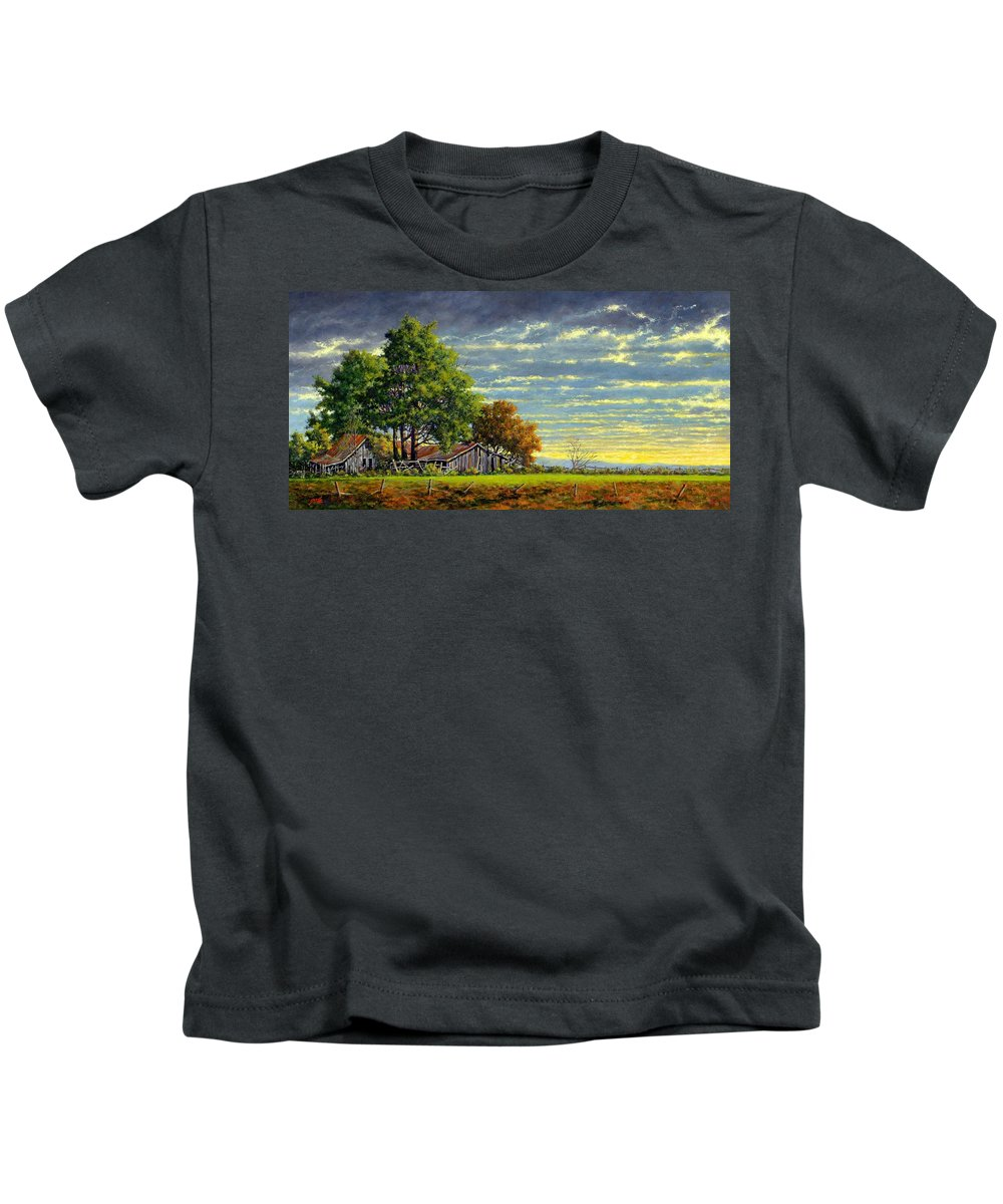 Landscape Kids T-Shirt featuring the painting Dusk by Jim Gola