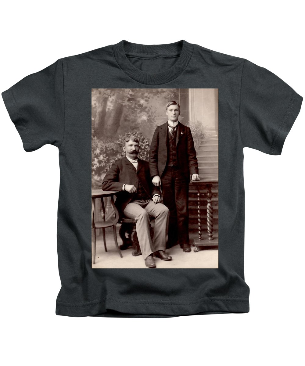 Vintage Kids T-Shirt featuring the photograph Father And Son by Image Takers Photography LLC