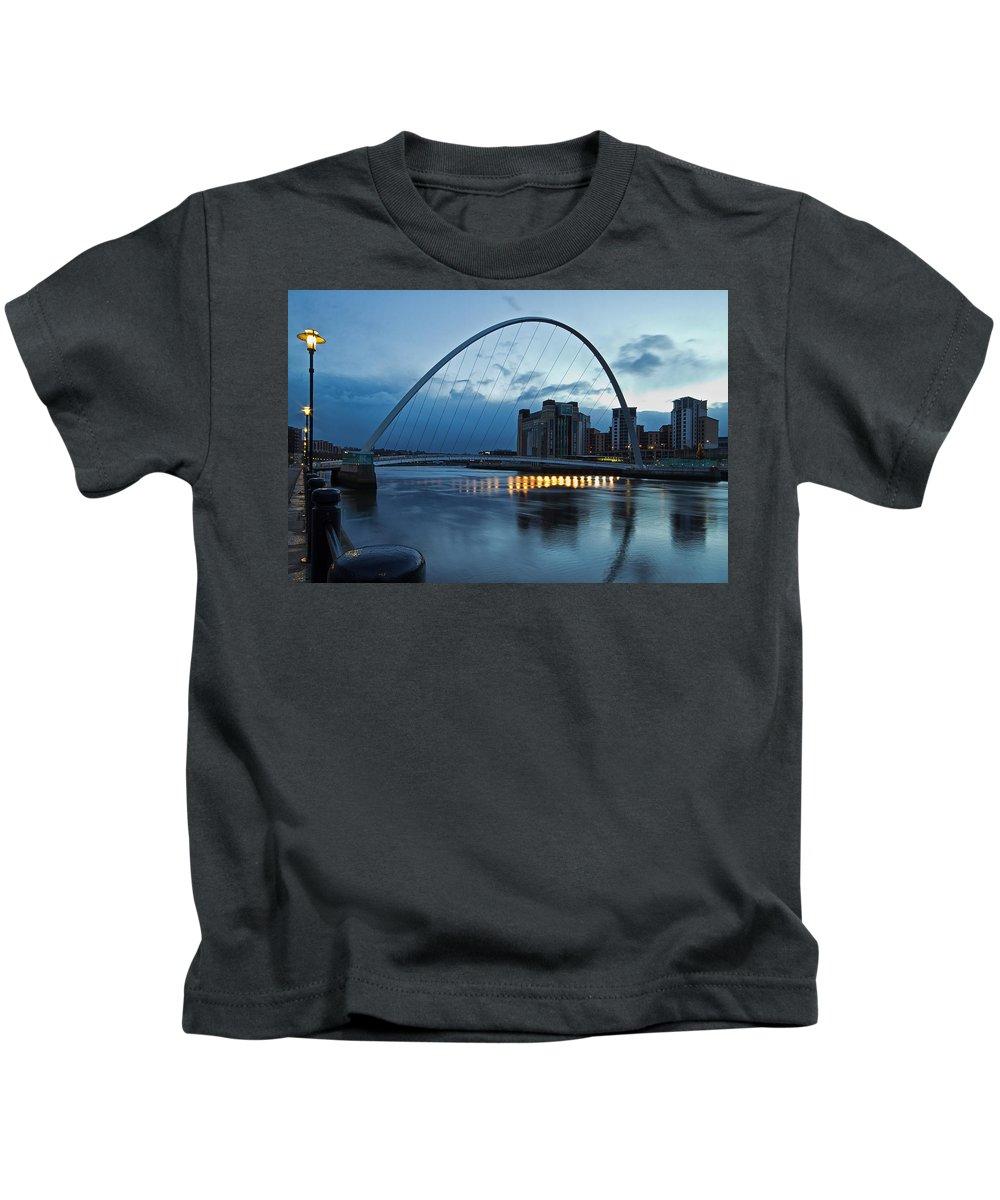 Millennium Bridge Kids T-Shirt featuring the photograph Gateshead Millennium Bridge by David Pringle
