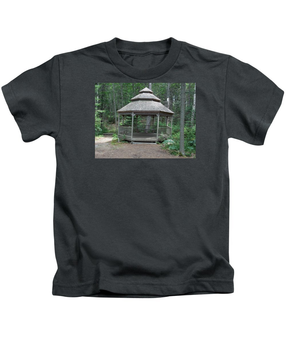 Gazebo Kids T-Shirt featuring the photograph Gazebo In The Woods by Catherine Gagne
