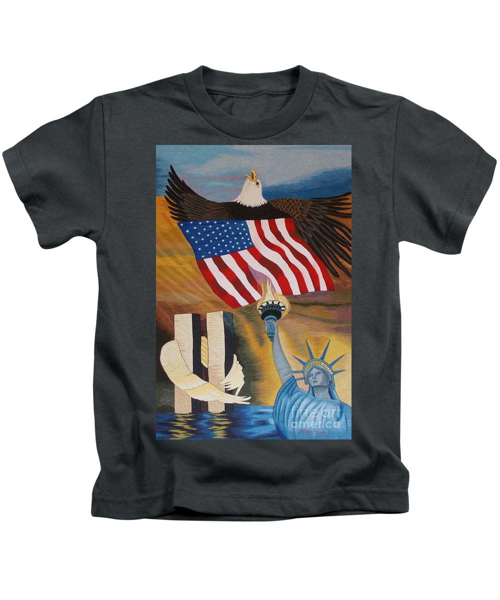 Twin Tower Kids T-Shirt featuring the tapestry - textile God Bless America Hand Embroidery by To-Tam Gerwe