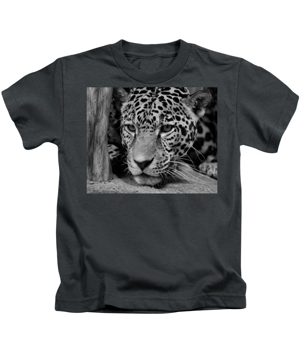 Jaguar Kids T-Shirt featuring the photograph Jaguar In Black And White II by Sandy Keeton