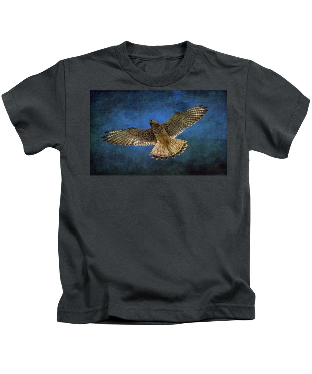 Kestrel Kids T-Shirt featuring the photograph Kestrel by Chris Smith