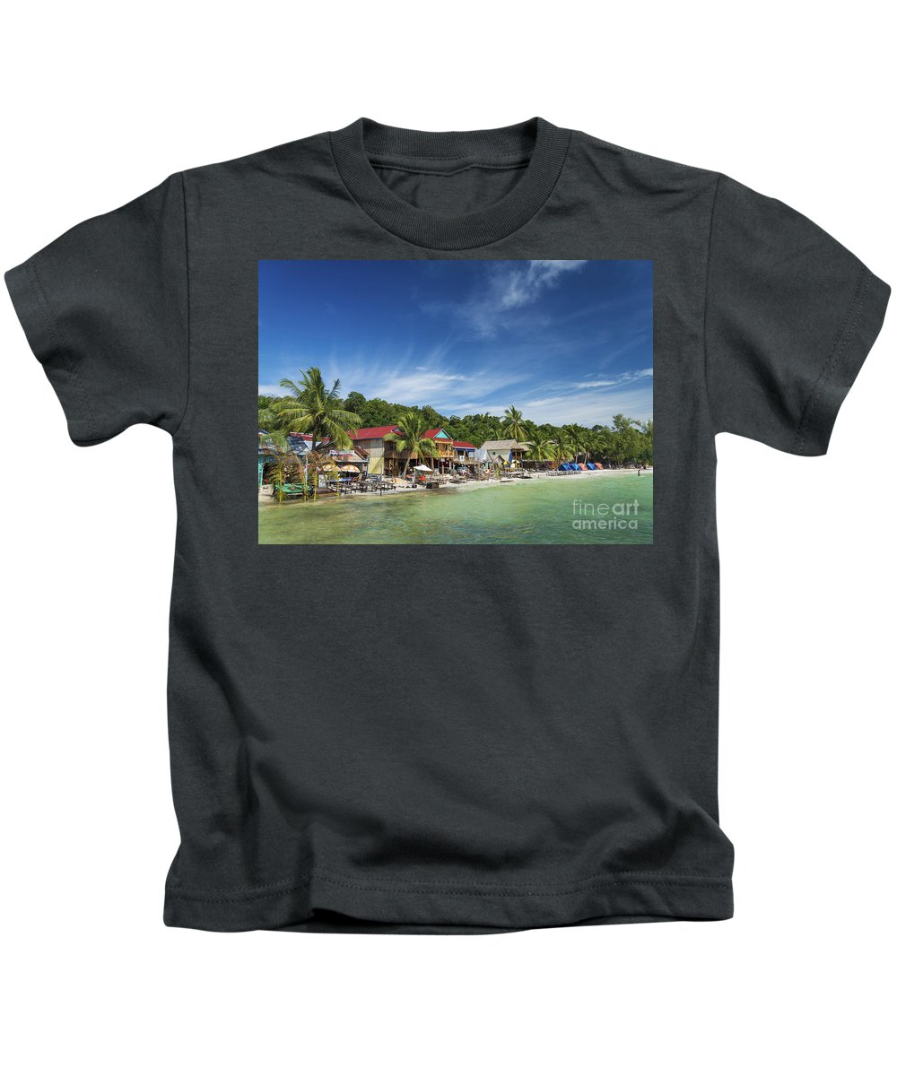 Asia Kids T-Shirt featuring the photograph Koh Rong Island Beach Bars In Cambodia by Jacek Malipan