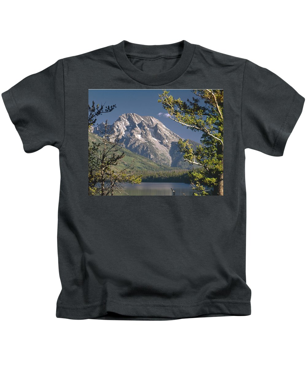 Mt. Moran Kids T-Shirt featuring the photograph Mt. Moran And Jenny Lake by Ed Cooper Photography