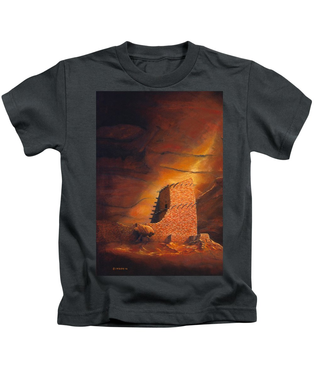 Mummy Cave Ruins Kids T-Shirt featuring the painting Mummy Cave Ruins by Jerry McElroy