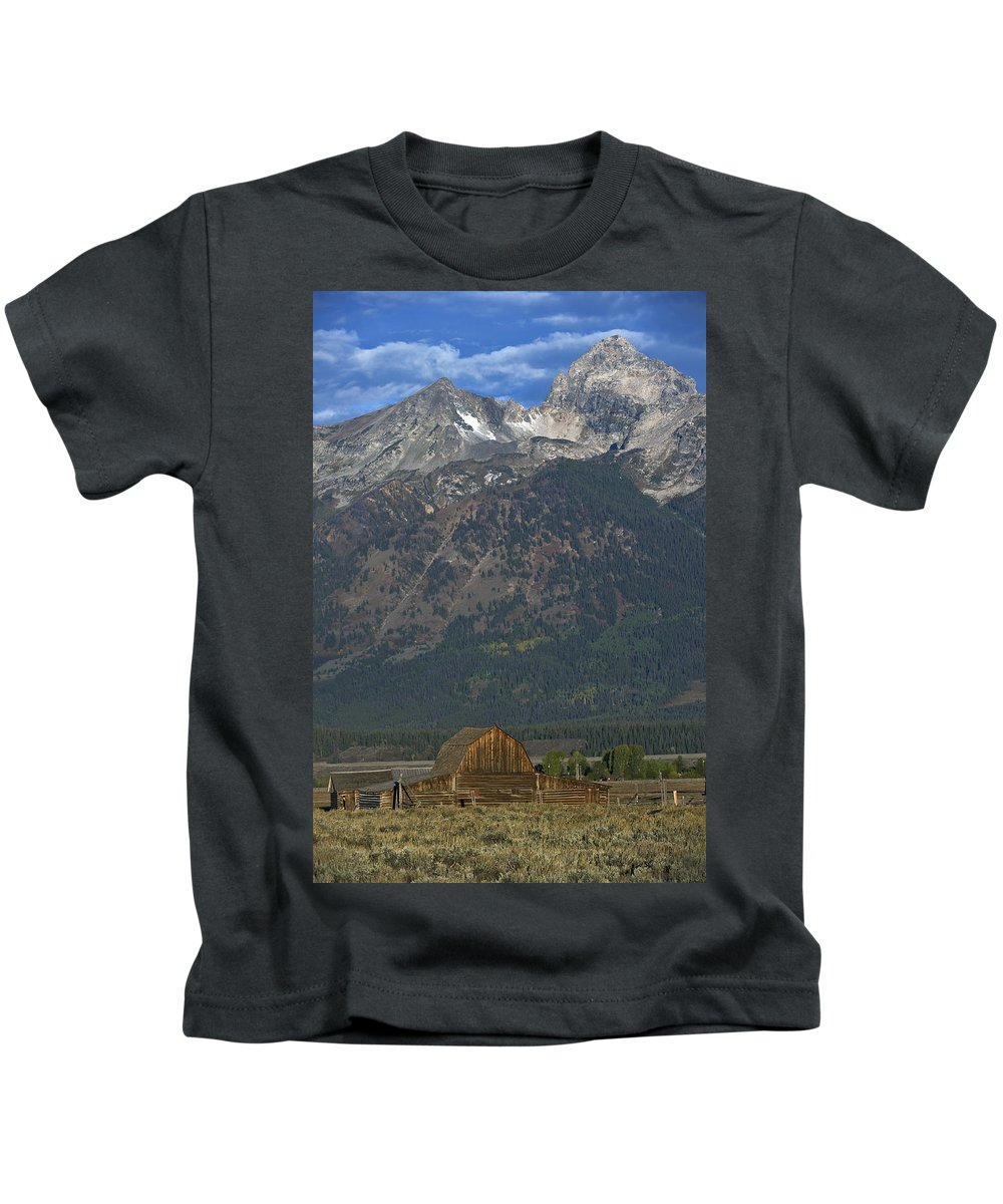 North Kids T-Shirt featuring the photograph North Moulton Barn Grand Tetons by Gary Langley