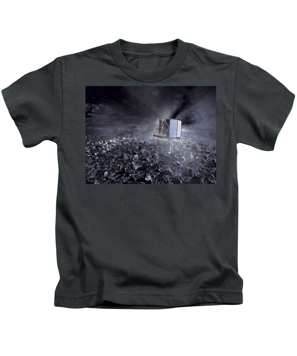 Comet Kids T-Shirt featuring the photograph Philae Lander On Comet 67pc-g by Science Source