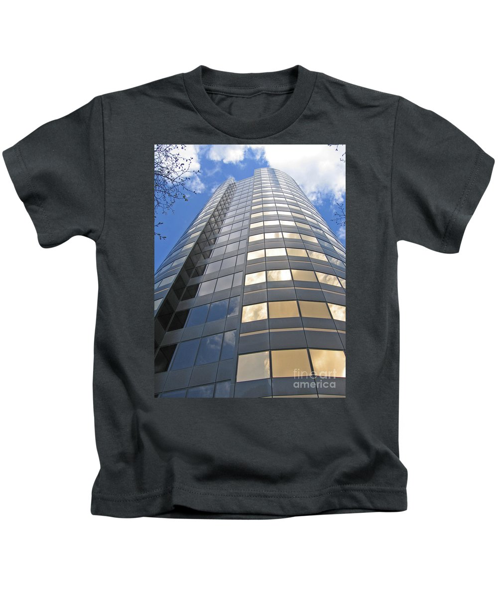 Skyscraper Kids T-Shirt featuring the photograph Rising High by Ann Horn
