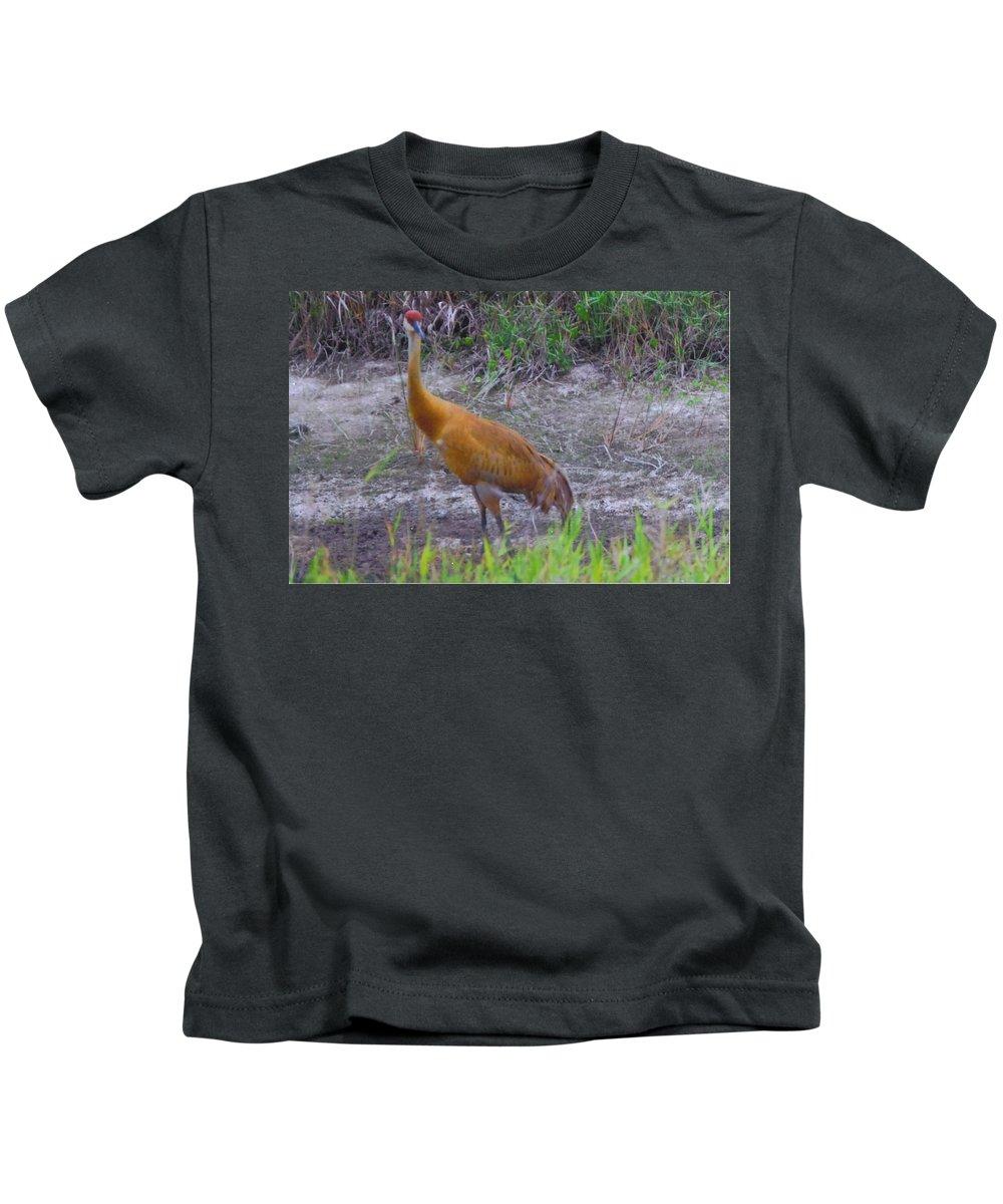 On Watch Kids T-Shirt featuring the photograph Sandhill Crane by Robert Floyd