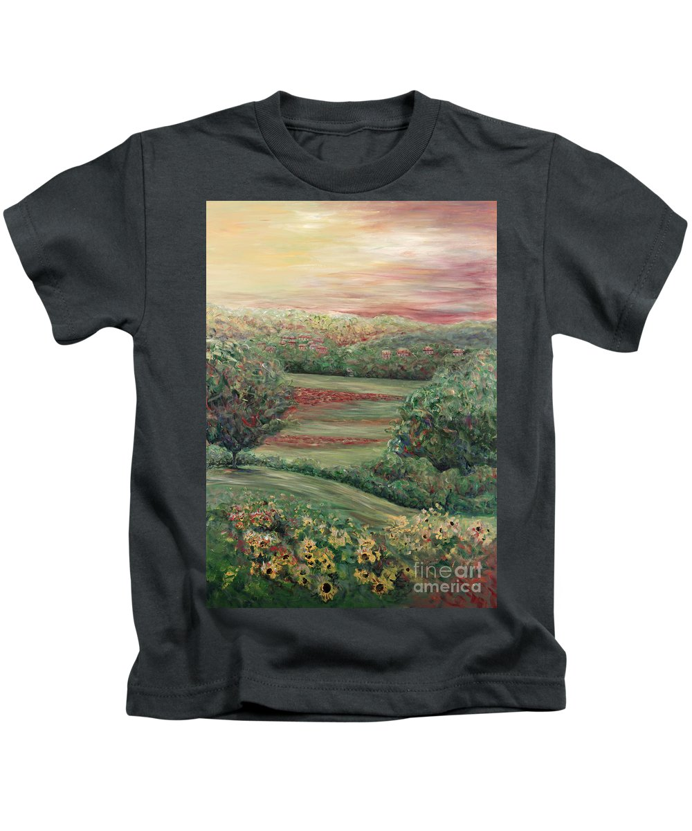 Tuscany Kids T-Shirt featuring the painting Summer in Tuscany by Nadine Rippelmeyer
