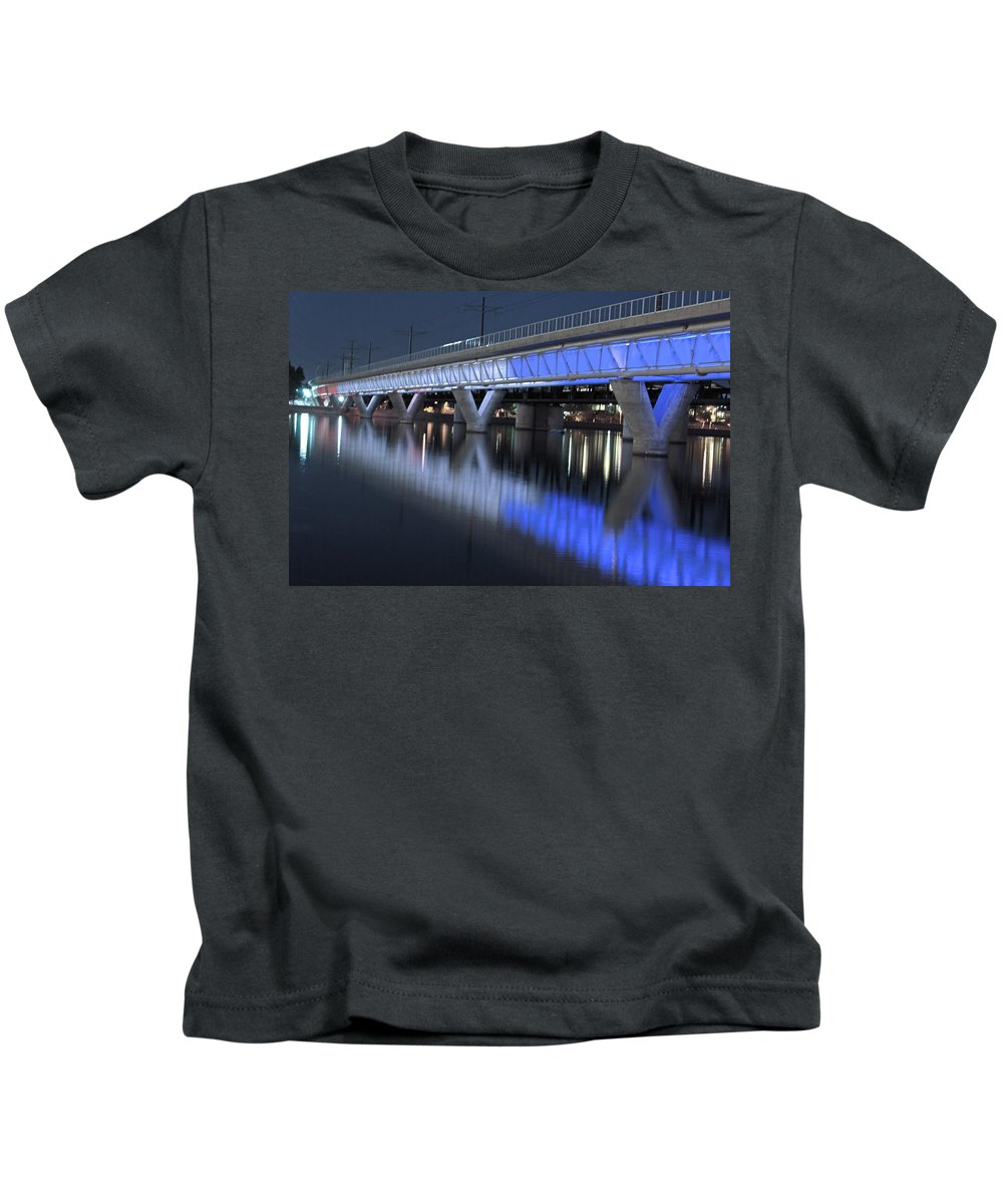 Bridge Kids T-Shirt featuring the photograph Tempe Light Rail Bridge by Tam Ryan