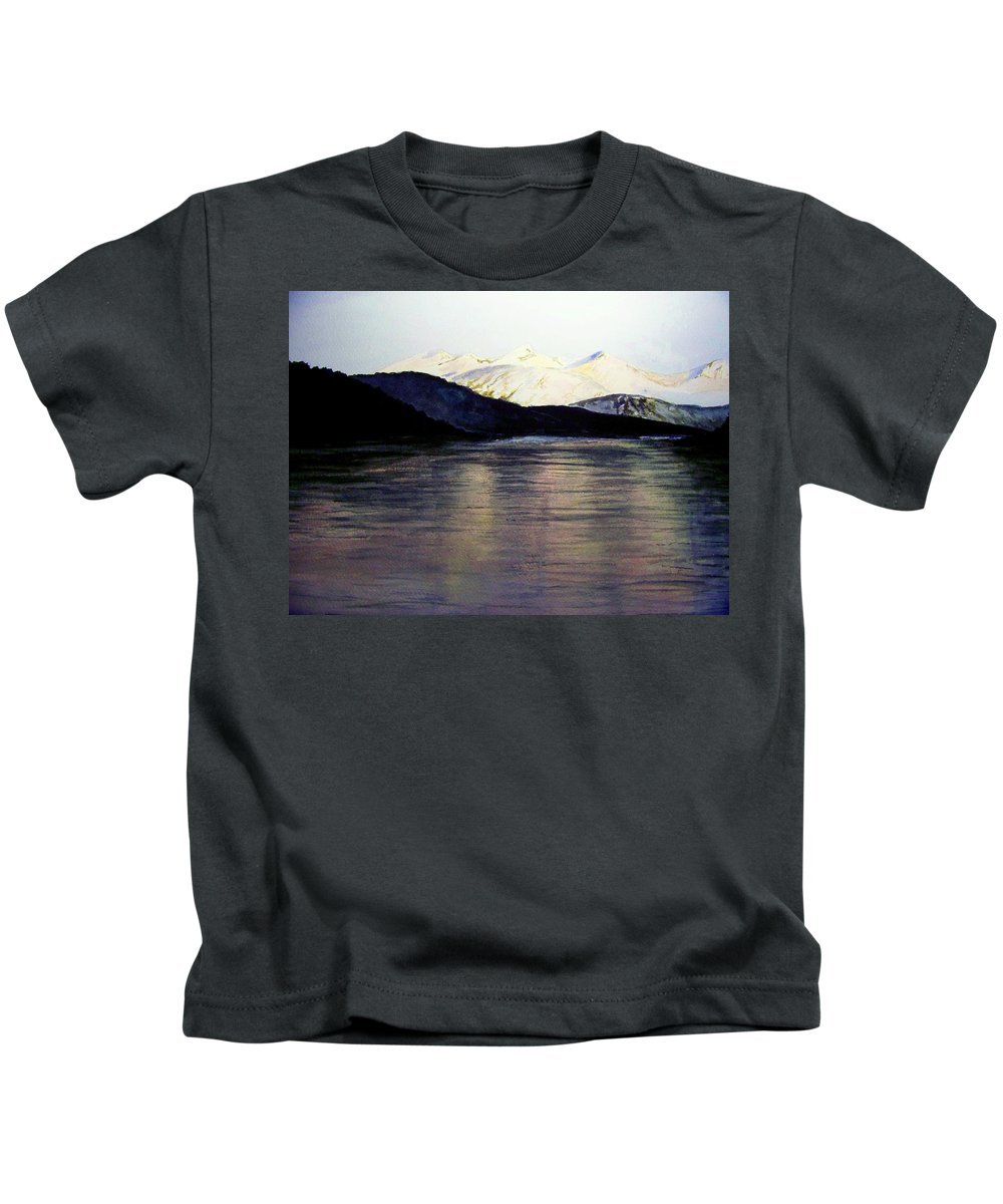 Watercolor Kids T-Shirt featuring the painting The Deepening Day by Brenda Owen