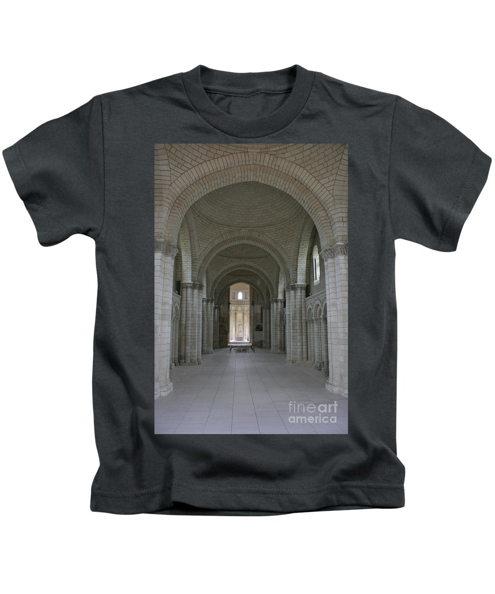 Nave Kids T-Shirt featuring the photograph The Nave - Cloister Fontevraud by Christiane Schulze Art And Photography