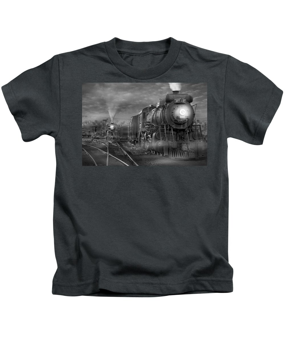 Transportation Kids T-Shirt featuring the photograph The Yard by Mike McGlothlen