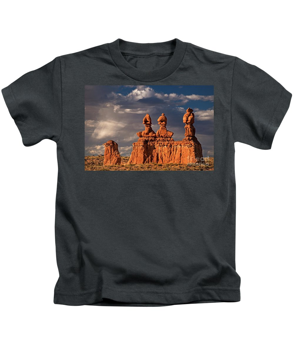 North America Kids T-Shirt featuring the photograph Three Sisters Hoodoos Goblin Valley Utah by Dave Welling