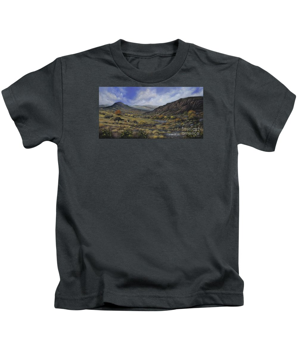 Southwest-landscape Kids T-Shirt featuring the painting Tres Piedras by Ricardo Chavez-Mendez