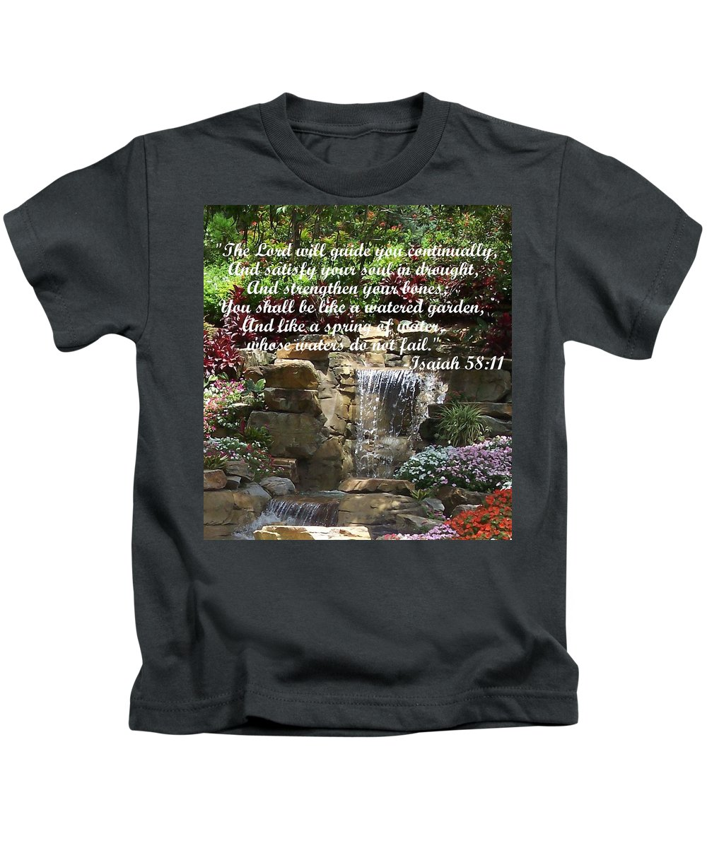 Inspirational Kids T-Shirt featuring the photograph Watered Garden by Pharris Art