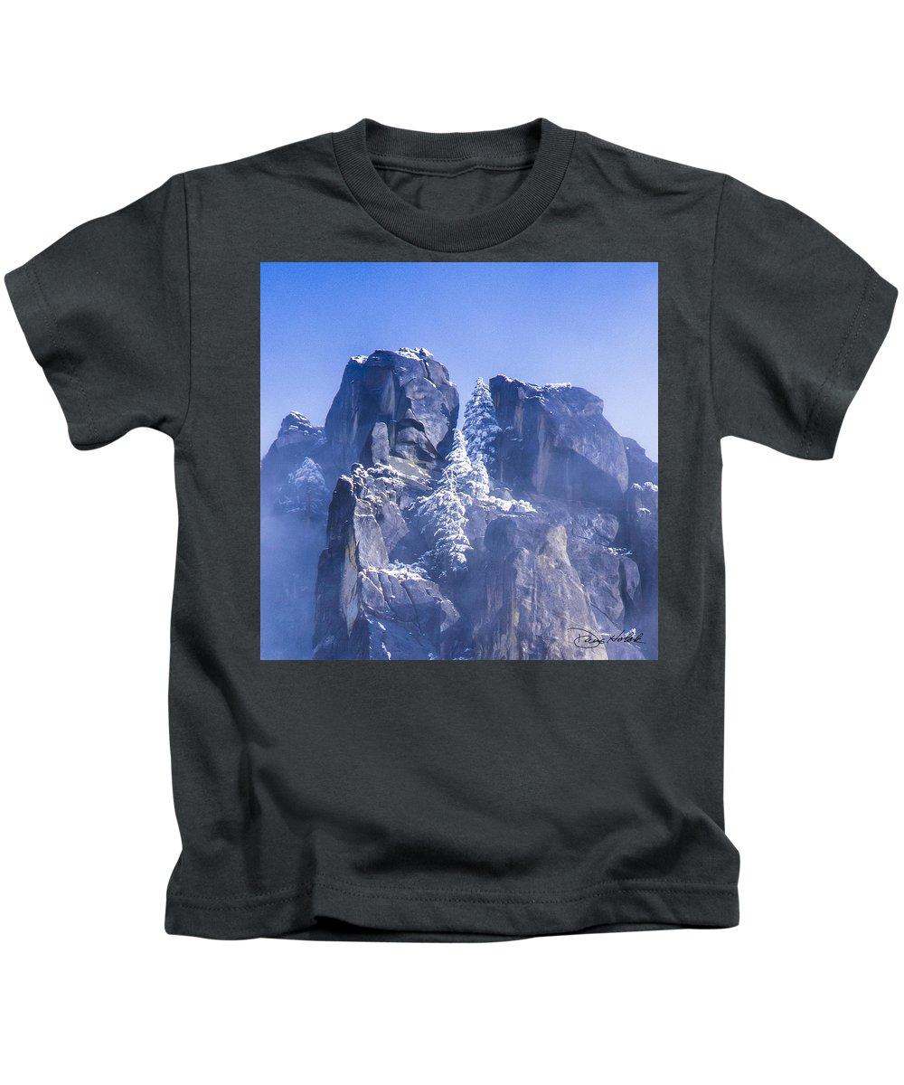 Yosemite Kids T-Shirt featuring the photograph Yosemite Stone And Snow by Doug Holck