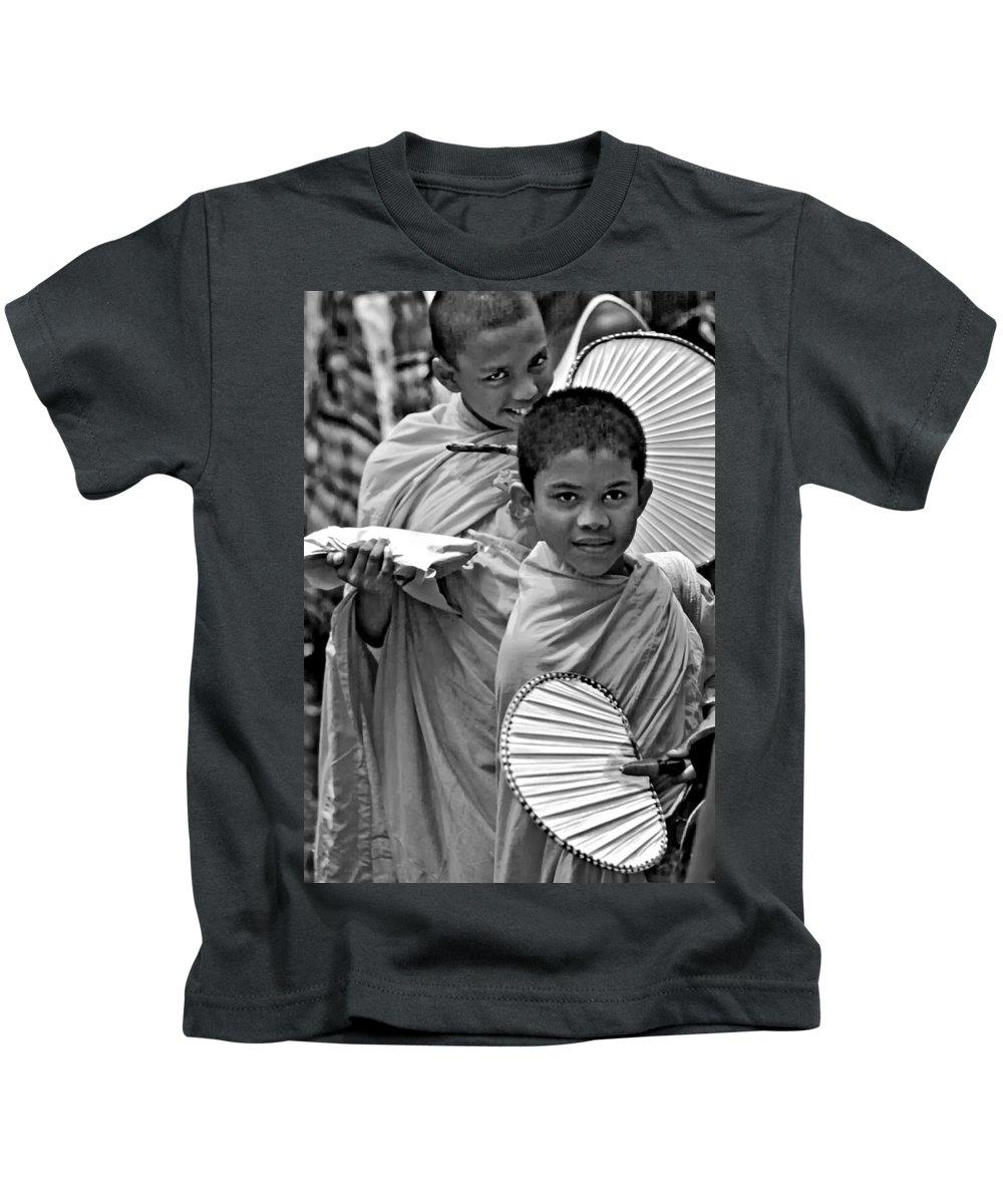 Buddhism Kids T-Shirt featuring the photograph Young Monks Bw by Steve Harrington