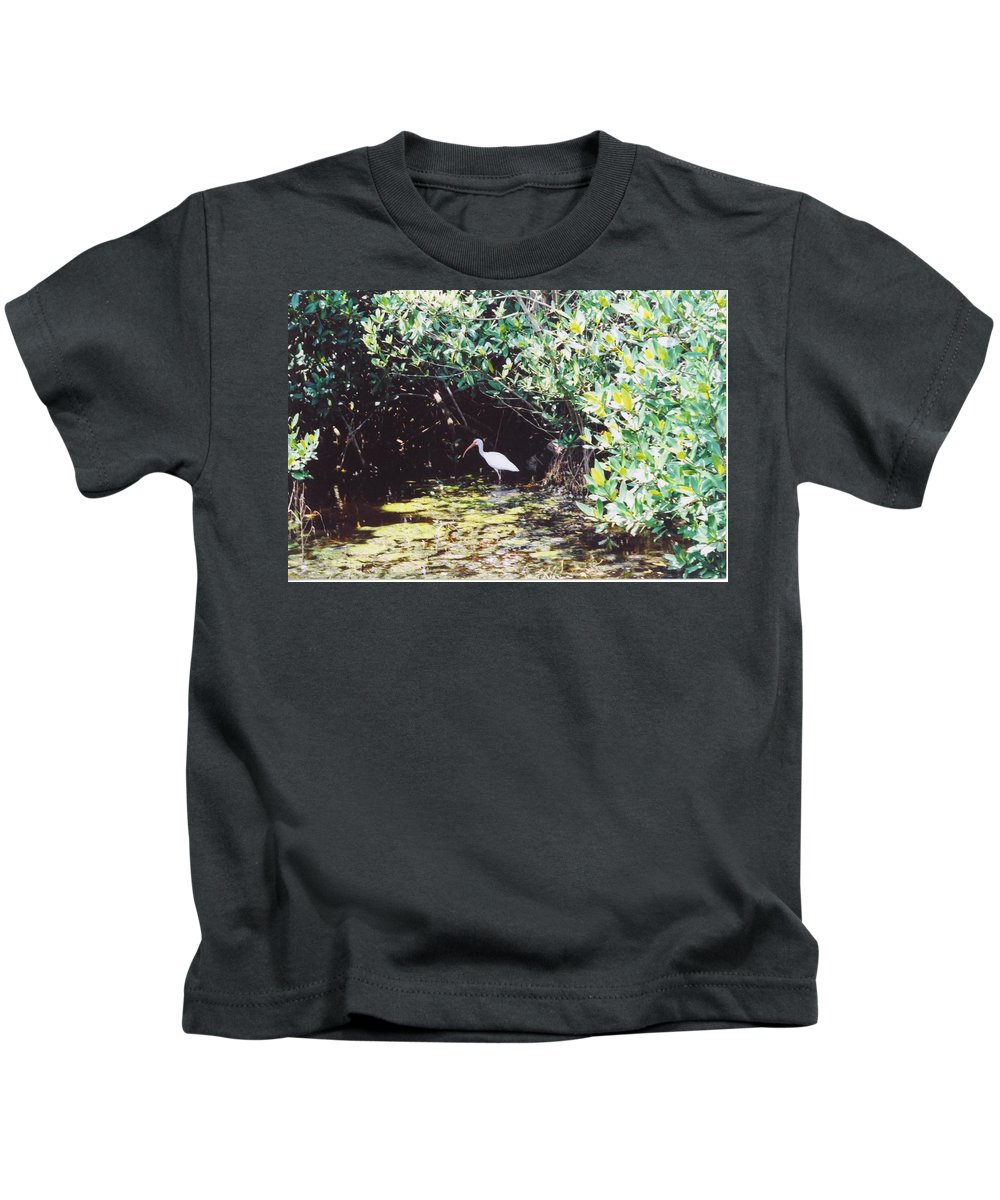Matlache Kids T-Shirt featuring the photograph White Ibis by Robert Floyd