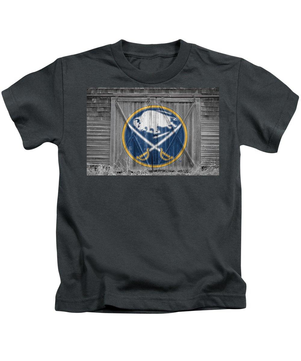 Sabres Kids T-Shirt featuring the photograph Buffalo Sabres by Joe Hamilton