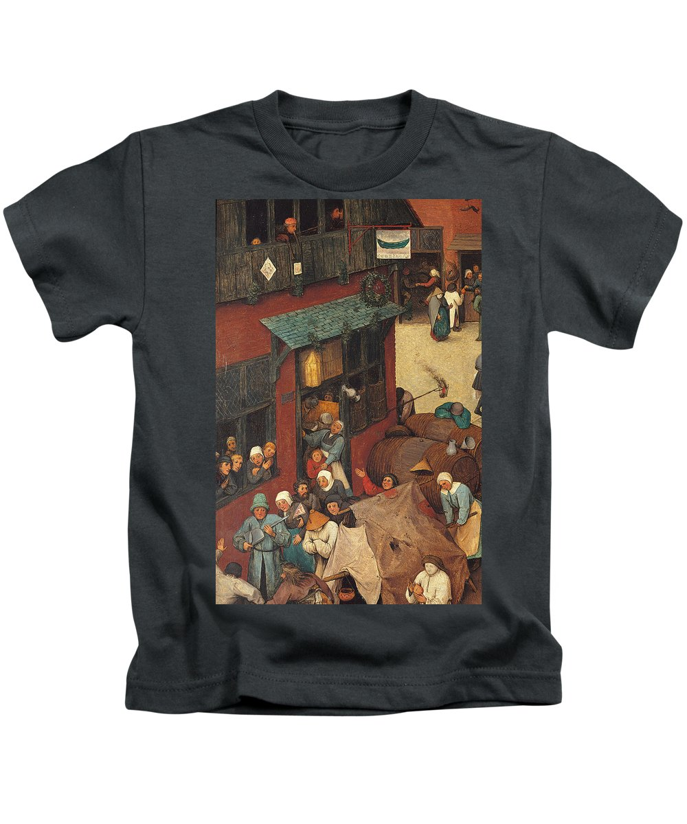Allegory Kids T-Shirt featuring the painting The Fight Between Carnival And Lent by Pieter the Elder Bruegel