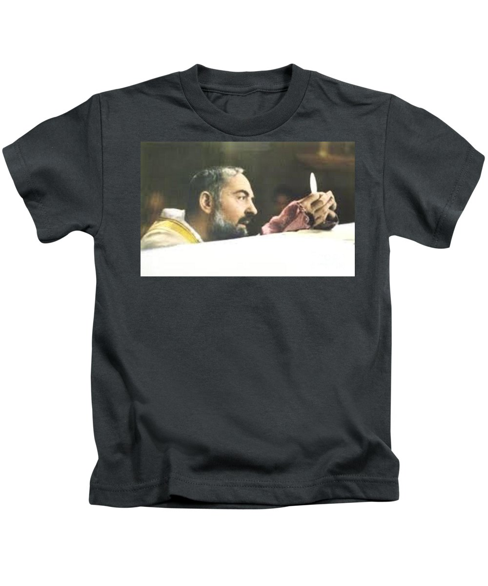 Prayer Kids T-Shirt featuring the photograph Padre Pio by Archangelus Gallery