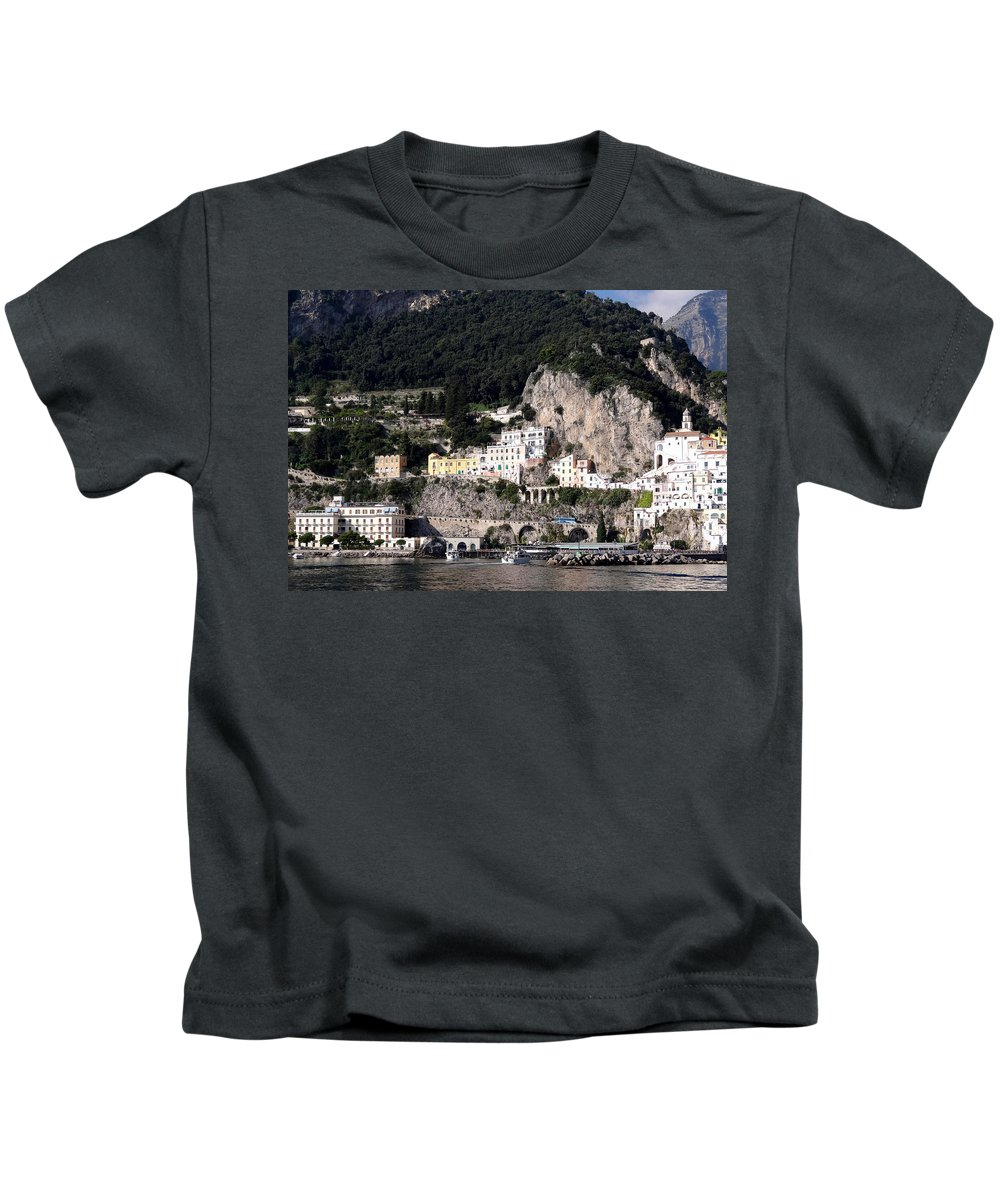 Mediterranean Kids T-Shirt featuring the photograph Views From The Amalfi Coast In Italy by Richard Rosenshein