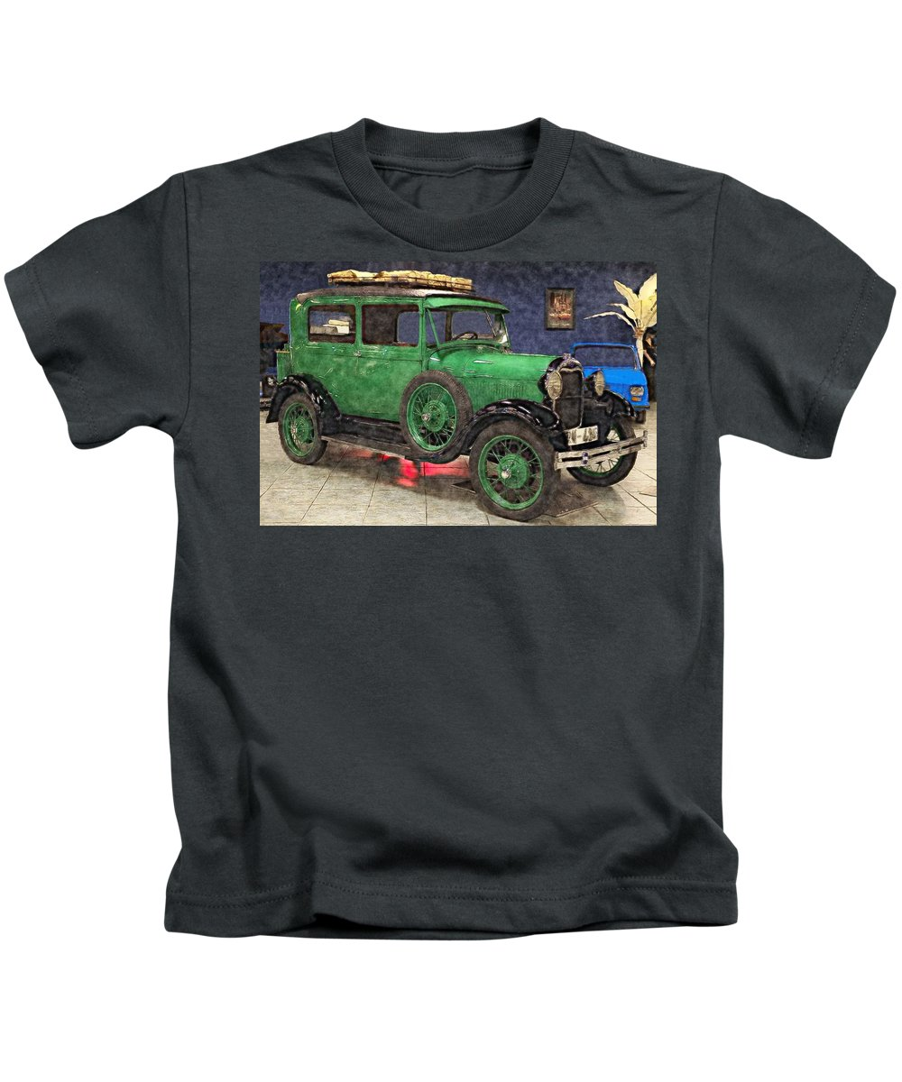 1929 Ford Model A Kids T-Shirt featuring the painting 1929 Ford Model A By Liane Wright by L Wright