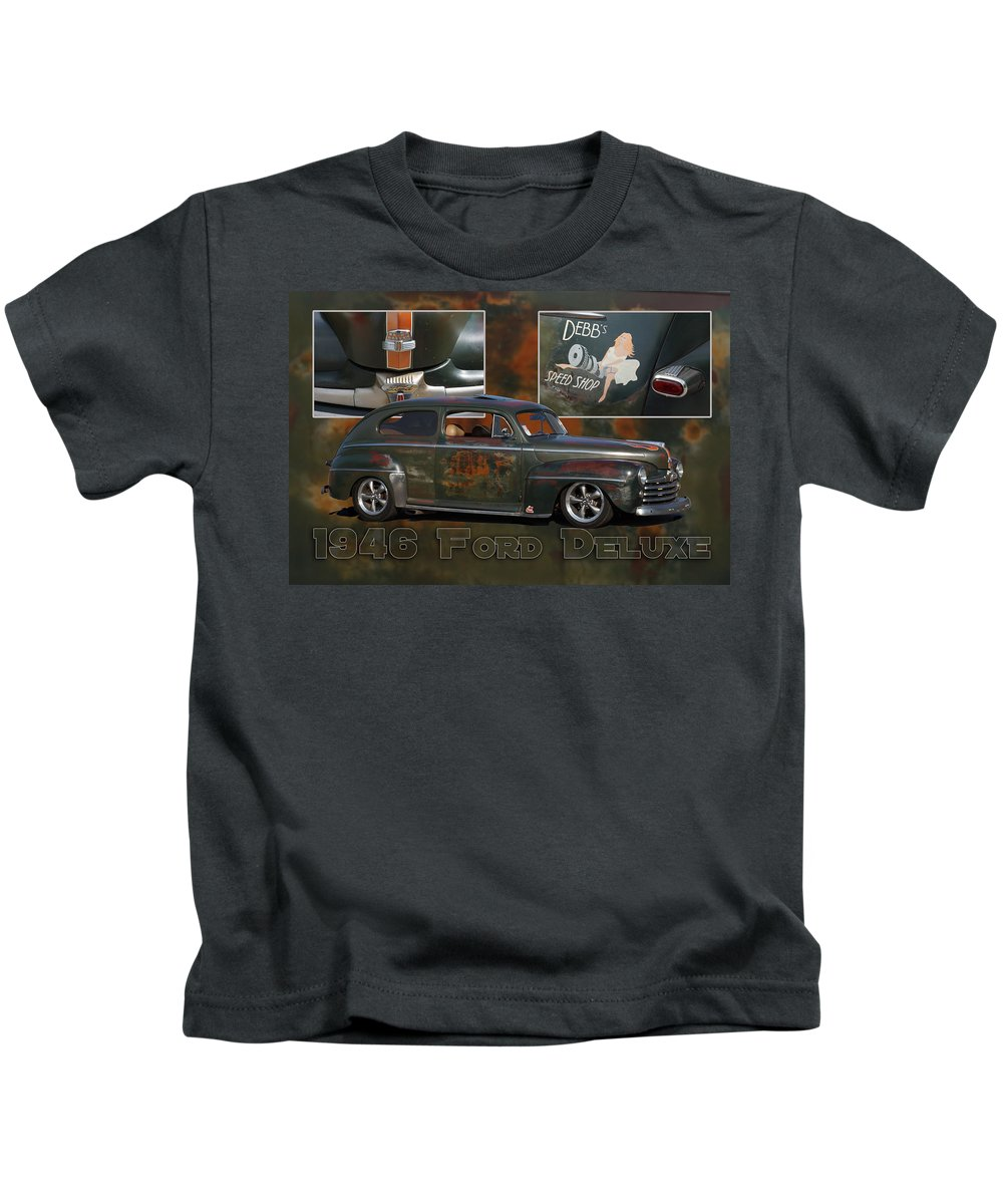 Ford Kids T-Shirt featuring the photograph 1946 Ford Deluxe by Alan Hutchins