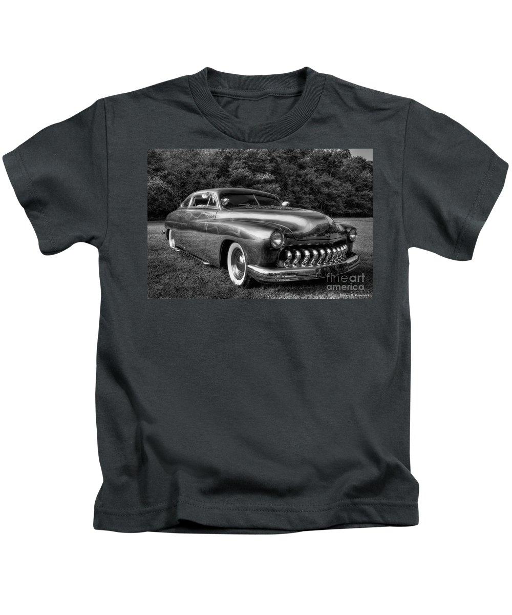 Custom Mercury Kids T-Shirt featuring the photograph 1950 Custom Mercury Black And White by David B Kawchak Custom Classic Photography