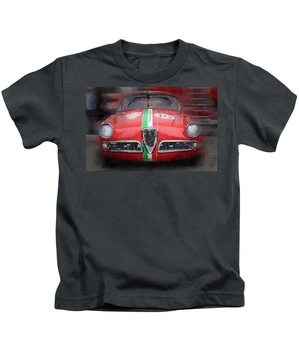 4d2eb169465 Alfa Romeo Giulietta Kids T-Shirt featuring the digital art 1959 Alfa Romeo  Giulietta Watercolor