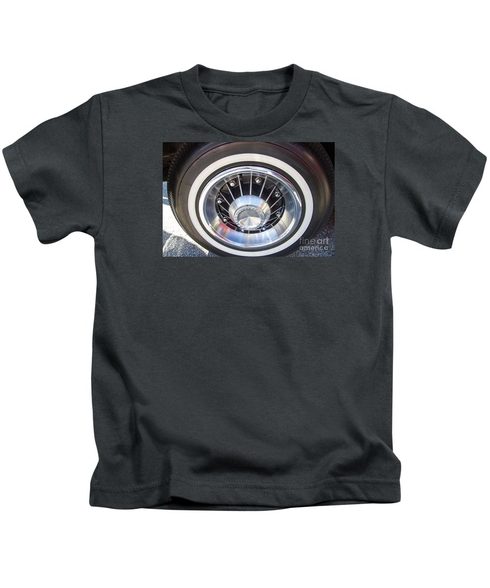Pontiac Bonneville Wheels Kids T-Shirt featuring the photograph Bonneville Aluminum Rims 1964 by J Darrell Hutto