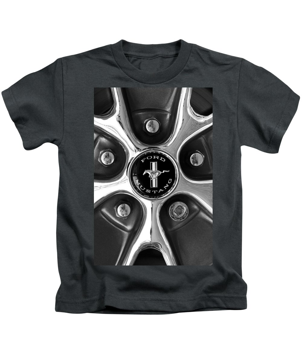 1965 Ford Mustang Gt Kids T-Shirt featuring the photograph 1965 Ford Mustang Gt Rim Black And White by Jill Reger